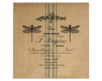 Dragonfly Grainsack Burlap Panel, Reproduction Printed Fabric