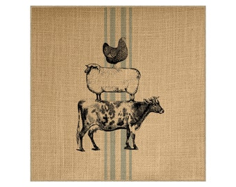 Farmhouse Grainsack Burlap Panel, Reproduction Printed Fabric