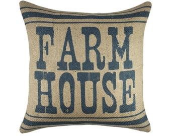 Farm House Pillow, Rustic Burlap Pillow, Decorative Southern Pillow, Farmhouse