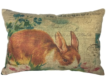 Bunny Throw Pillow, Linen Lumbar Pillow, French