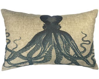 Navy Octopus Throw Pillow, Linen Lumbar Pillow, Nautical
