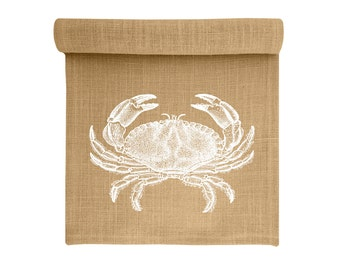 Crab Table Runner, Burlap Runner, Coastal Table Linens, TheWatsonShop