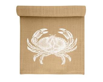 Crab Table Runner, Burlap Runner, Coastal Table Linens, TheWatsonShop