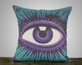 Eye Pillow, Teal and Amethyst, Decorative Throw Pillow, Purple and Blue, Celestial, Zodiac, Conceptual