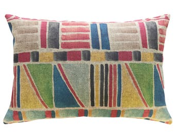 Colorful Geometric Throw Pillow, Linen Lumbar Pillow, Worldly
