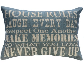 House Rules Throw Pillow, Blue Typography, Linen Lumbar Pillow