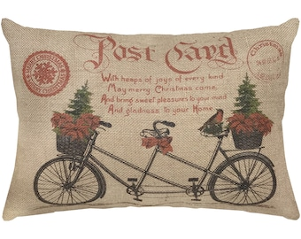 Christmas Burlap Pillow, Bike Lumbar Pillow, Country Farmhouse, 18x12