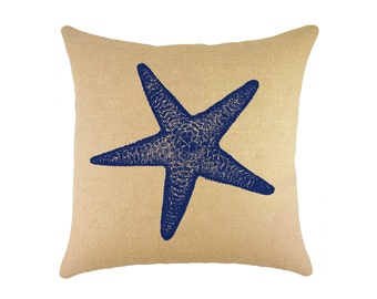 "Starfish Burlap Pillow 16"", Nautical Throw Pillow"