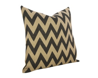 Burlap Chevron Pillow, Industrial Accent, Black