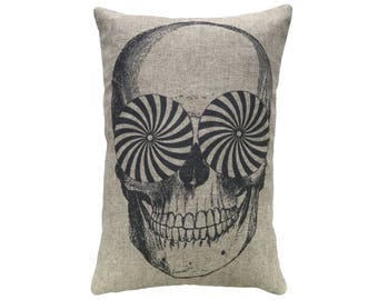 Skull Throw Pillow, Linen Lumbar Pillow, Modern