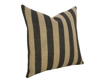 Stripe Burlap Pillow, Industrial Decor, Black