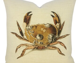 Crab Pillow, Burlap Nautical Cushion, Beach Pillow, Coastal
