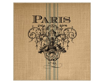 Paris Grainsack Burlap Panel, Reproduction Printed Fabric