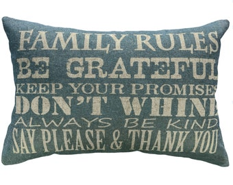 Family Rules Throw Pillow, Blue Typography, Linen Lumbar Pillow