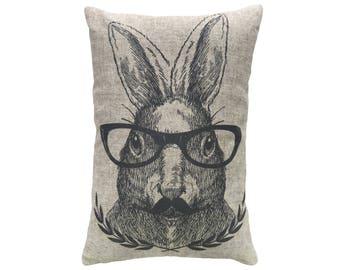 Hare Throw Pillow, Rustic Linen Lumbar Pillow, Bunny