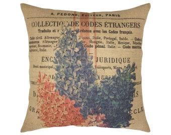 "French Flowers Burlap Pillow I 18"" x 18"" Farmhouse Flower Market Pillow I Grain Sack Pillow"