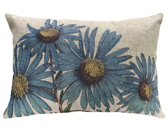 Blue Flowers Throw Pillow, Linen Lumbar Pillow, Cottage