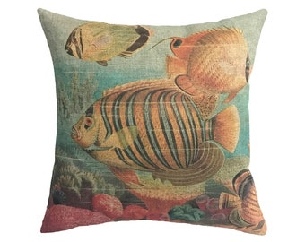 "Fish Linen Throw Pillow 15"" x 15"""