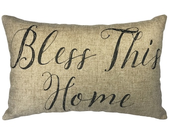 Bless This Home Throw Pillow, Rustic Linen Lumbar Pillow