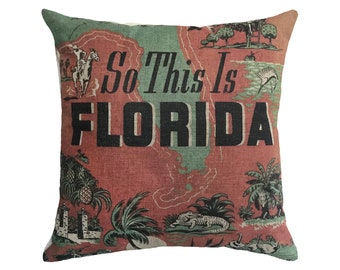 "So This Is Florida Linen Throw Pillow 15"" x 15"""