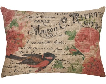 Red Bird Burlap Pillow, French Roses Lumbar Pillow, French Farmhouse, 18x12