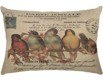 Birds on Branch Burlap Pillow, French Lumbar Pillow, Country Farmhouse, 18x12
