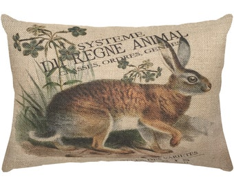 Bunny Burlap Pillow, French Lumbar Pillow, French Country, 18x12