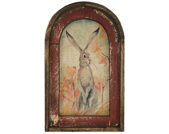 "Bunny Wall Art | Arch Window Frame | Linen Wall Hanging | Rustic Farmhouse Decor | 14"" x 22"""