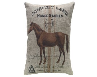 Horse Throw Pillow, Cottage Linen Lumbar Pillow, Rustic