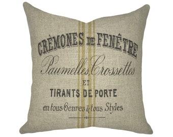 Grain Sack Throw Pillow | Striped Linen Pillow | French Farmhouse Decor