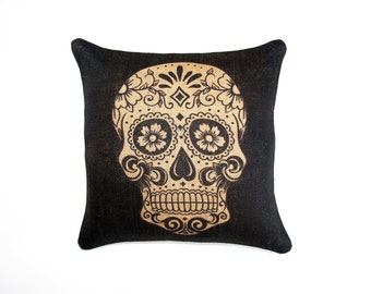 Sugar Skull Burlap Pillow, Day of the Dead, Dia de los Muertos, Black, Biege