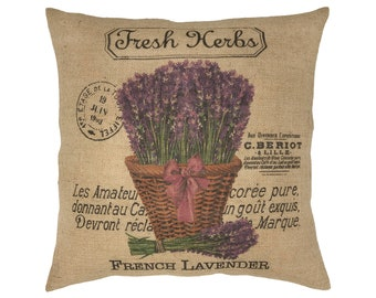 "Lavender Burlap Pillow I 18"" x 18"" Country Farmhouse Pillow I Grain Sack"