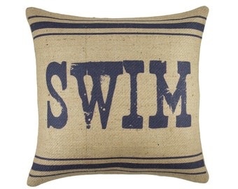 Swim Pillow, Burlap Pillow, Lake House Cushion, Navy