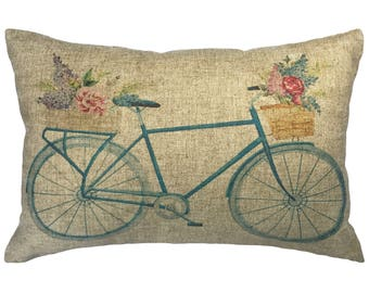 Watercolor Blue Bike Throw Pillow, Linen Lumbar Pillow, Cottage
