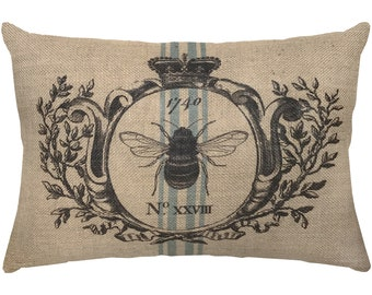 Burlap Bee Pillow, Grainsack Lumbar Pillow, French Farmhouse, 18x12
