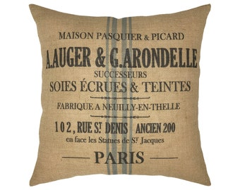"Grainsack Burlap Pillow I 18"" x 18"" French Farmhouse Pillow I Grain Sack Cushion"