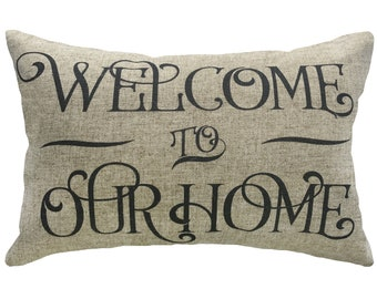 Welcome to our Home Throw Pillow, Linen Lumbar Pillow
