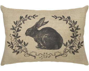 Rabbit Burlap Pillow, French Lumbar Pillow, French Country, 18x12