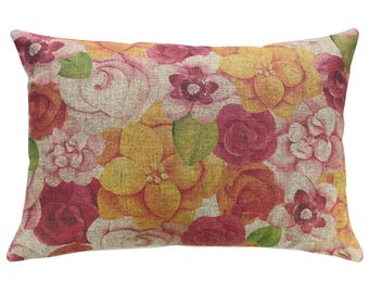 Watercolor Flowers Throw Pillow, Linen Lumbar Pillow, Cottage