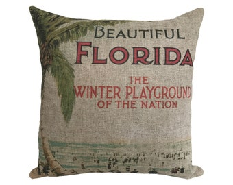 "Beautiful Florida Linen Throw Pillow 15"" x 15"""