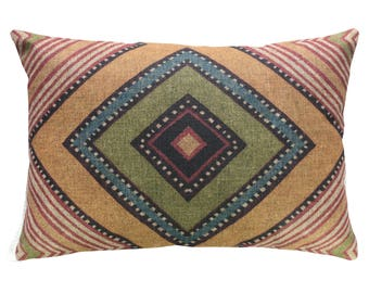 Geometric Throw Pillow, Linen Lumbar Pillow, Worldly