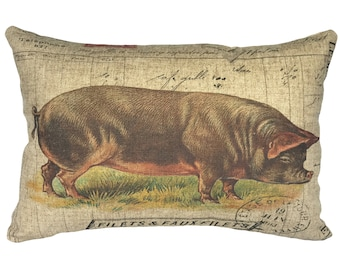 French Pig Throw Pillow, Rustic Linen Lumbar Pillow, Farmhouse