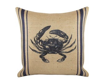 Crab Pillow, Burlap Nautical Navy Cushion, Beach Pillow, Coastal