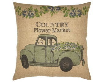 "Flower Market Burlap Pillow I 18"" x 18"" Country Truck Pillow I Grain Sack Cushion"