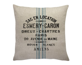 Paris Grain Sack Throw Pillow, Linen Pillow, Cottage Chic