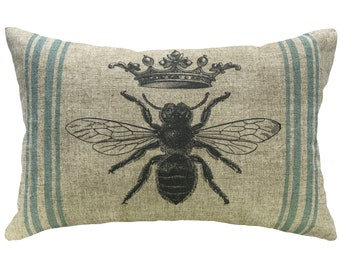 Bee Grainsack Throw Pillow, Shabby Chic Linen Lumbar Pillow, French