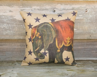 Circus Elephant Pillow, Burlap Throw Pillow, Stars