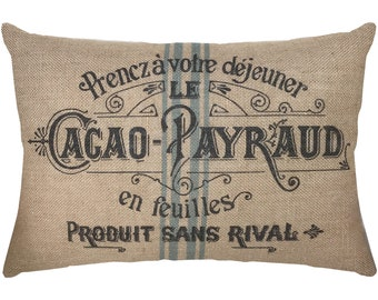 Burlap Grainsack Pillow, French Lumbar Pillow, French Farmhouse, 18x12