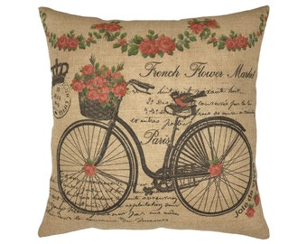 "French Bike Burlap Pillow I 18"" x 18"" Farmhouse Flower Market Pillow I Grain Sack"