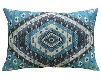 Geometric Blue Throw Pillow, Linen Lumbar Pillow, Worldly